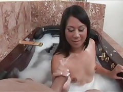 Bathtub blowjob from a little tits asian girl tubes