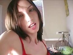 Big dildo fucks pussy of a skinny brunette girl tubes