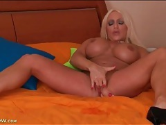 Babe with gorgeous big fake tits fingers vagina tubes