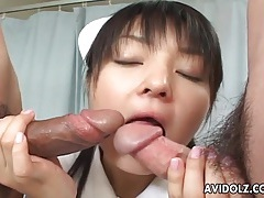 Two dicks sucked off by japanese nurse tubes