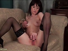 Skinny girl with black fingernails masturbates tubes