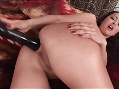 Big black dildo stretches out her hot asshole tubes