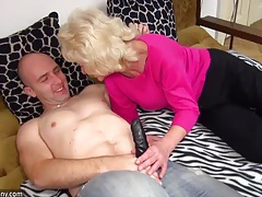 Old chubby granny in the bed has sex with horny man tubes