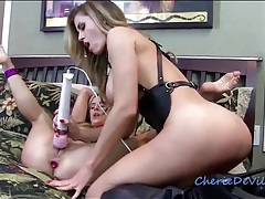 Bound girl licked and vibrated by mistress tubes