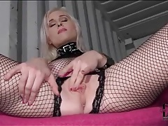 Fishnet lingerie set and latex boots on hot babe tubes