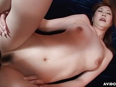 Cock leaves a cumshot inside japanese pussy tubes