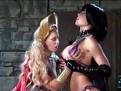 Kinky latex mistress has a girl on a leash tubes