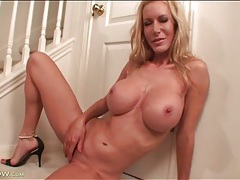 Mommy with big fake titties fingers cunt tubes