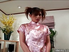 Sexy silk dress on hitomi ikeno as he fondles her tubes
