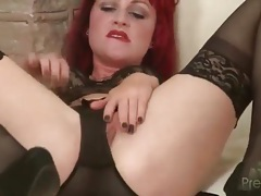 Redhead hollis ireland in black lace lingerie tubes