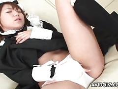 Adorable japanese maid masturbates pussy tubes