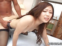 Fucked japanese girl in stockings takes a facial tubes