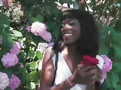 Black girl in the garden shows her pussy upskirt tubes