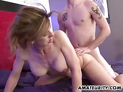 Busty amateur milf sucks and fucks with facial tubes