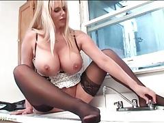 Big babe karen fisher masturbates in sexy lingerie tubes