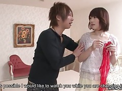Japanese girl in lingerie massages him in the shower tubes