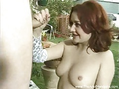Redhead handjob on a ladder tubes
