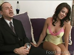 Lingerie looks cute on girl teasing with her feet tubes