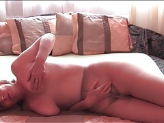 Thick mature babe in sheer pantyhose masturbates tubes