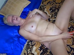 Sexy young girl and chubby old granma have sex with toy tubes