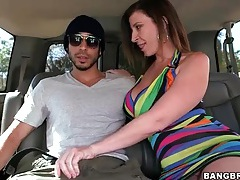 Slutty sara jay picks up a guy for a car blowjob tubes