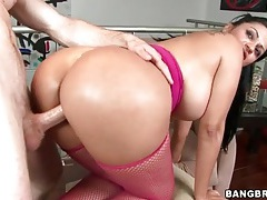 Reverse cowgirl cock ride with fat ass slut tubes