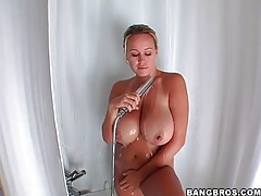 Brandy talore soaps up her huge natural tits tubes