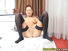 Tight cunt babe fingering tubes