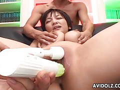 Cocks cum on her big tits and she squirts tubes