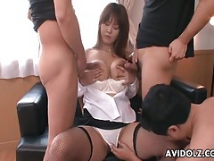 Three guys suck her big tits and fuck her mouth tubes