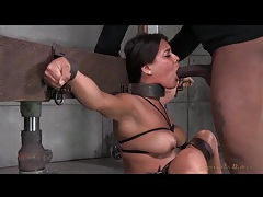 Beauty spread by bondage and face fucked deep tubes