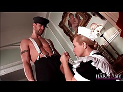 Beautiful maid sucks dick and gets butt fucked tubes