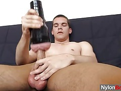 Thin twink strokes his hammer tubes