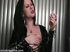 Black latex looks naughty on hot smoking girl tubes