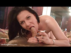 Pov striptease and blowjob with sexy smoker tubes