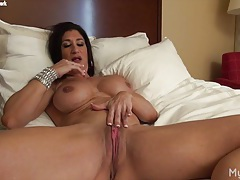 Hot italian plays with her big clit tubes