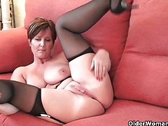 British milf joy exposing her big tits and hot fanny tubes