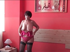 Short dress and stockings on sexy stripping mature tubes