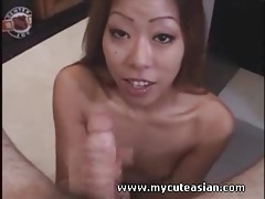 Pretty asian on her knees sucks off a dick tubes