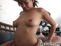 Busty amateur asian girlfriend sucks and fucks tubes