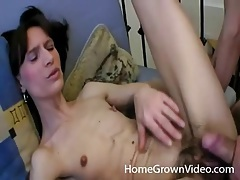 Skinny gf gives him her hairy cunt for fucking tubes
