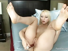Pretty blonde girl ashley jane fucks toys tubes