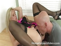 Blonde milf in super hot lingerie gets eaten out tubes
