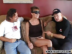 Busty amateur girlfriend anal threesome with facial tubes