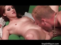 Fucked girl squirts juices into his mouth tubes