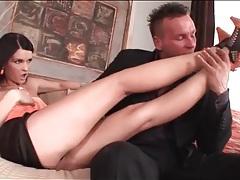 Slut in tiny satin skirt arouses her man tubes