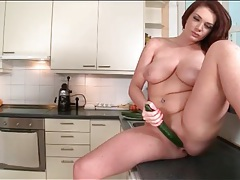 Emma leigh fucks long zucchinni into her pussy tubes