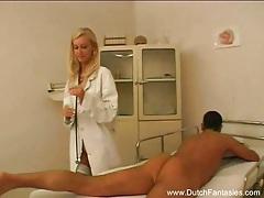 Blonde dutch doctor fucks her patient tubes