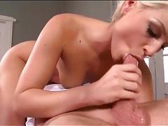 Naked blonde sucks dick on top in 69 tubes