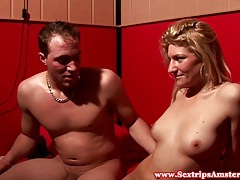 Blonde dutch whore jizzed on by tourists tubes